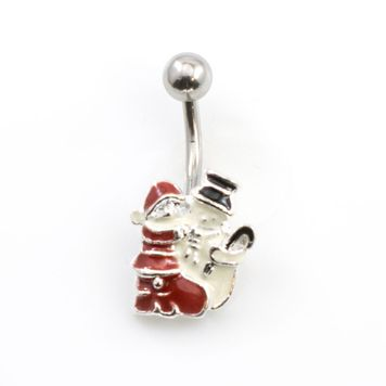 Santa Claus and Snowman Belly Ring- 14ga