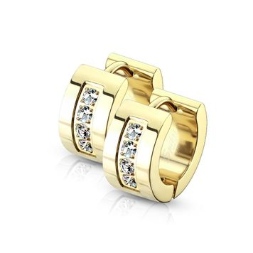 Pair of Hoop Earring with Multiple Cubic Zirconia Stones Stainless Steel Hinge Action 20g