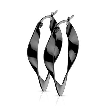 Pair of  Twisted Oval Hoop Earrings Stainless Steel 22g