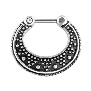 Dotted Pattern Two Tone 316L Surgical Steel Septum Clicker Ring 16G