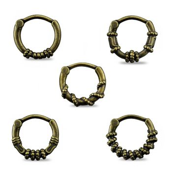 Septum and Daith Clickers Antique Burnish Gold Tone  Surgical Steel with Multiple Designs 16ga - Pack of 5