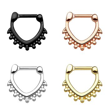 Triangle Shape with Beads 100% Surgical Steel Septum Clickers 14G - 16G