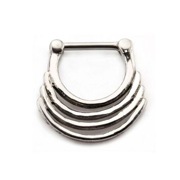 Stainless Steel Triple Play Ring Septum Clicker 16ga