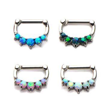 Septum Clickers with 5 Prong Set Synthetic Opal Jewels - 316L Surgical Steel