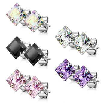 Pair of 316L Surgical Stainless Steel Stud Earring with Princess Cut Square Cubic Zirconia 22ga