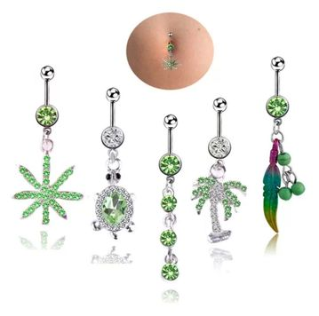 Belly rings Naval piercing dangle design 5 pc. surgical steel clear and green jewels 14 Gauge fit most belly piercings