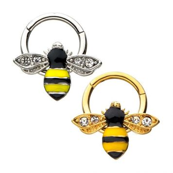 Bee Design Ear Cartilage & Septum Segment Ring Hinged 16ga Surgical Steel