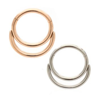 Double Hoop Design Ear Cartilage & Septum Micro Hinged Segment Ring 18ga 16ga Surgical Steel