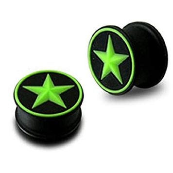 Pair of Black and Neon Green  Silicone Star Design Ear Plugs( 0ga-1 in)