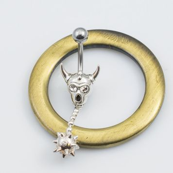 Silver Warrior Helmet 14ga Belly Ring with CZ Eyes