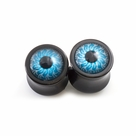 Pair of Ear Plugs Double Flared with Blue Eyes Design