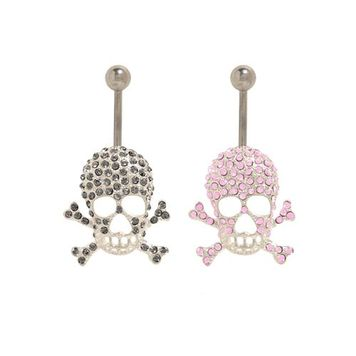 14 gauge Skull Belly Button Ring Surgical Steel with Jewels