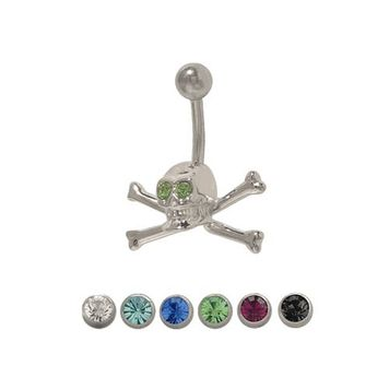 14 gauge Skull Cross Bone Belly Button Ring with CZ Jewels