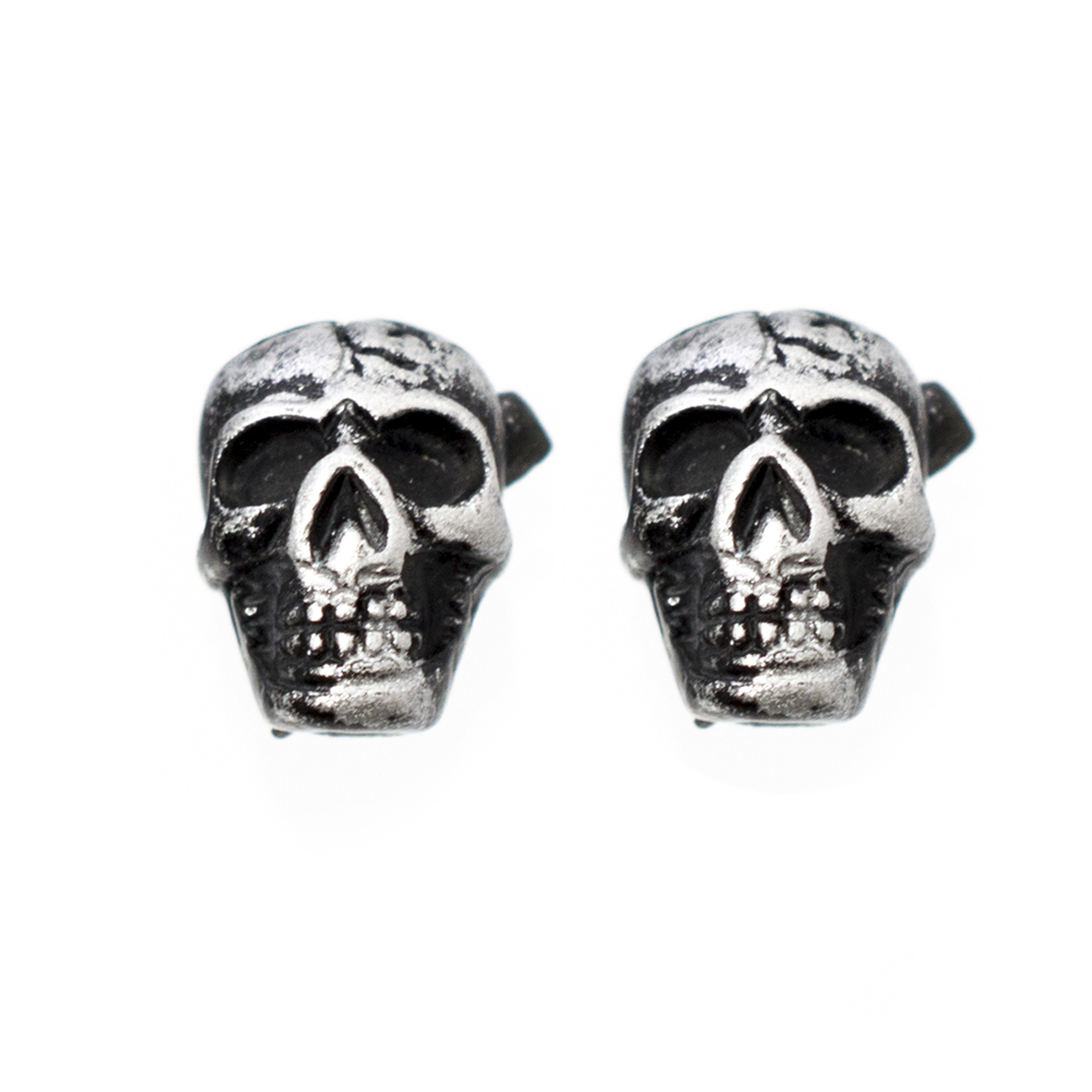 Pair of Black Ear Tapers with Skull Design