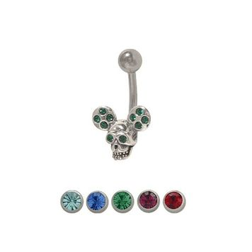 14 gauge Skull with Mickey Mouse Ears Belly Ring with Jewels