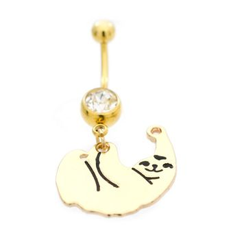 Navel Ring with Cute Sloth Design and Cubic Zirconia 14g