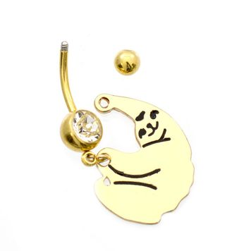 Cute Sloth Design Belly Button Ring with Cubic Zirconia Surgical Steel 14ga