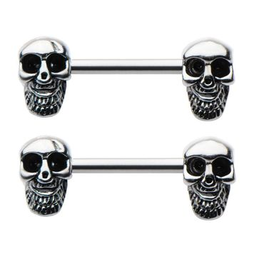 Pair of Smiling Bearded Skull 14g Nipple Barbell