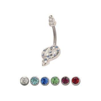 14 gauge Snake Belly Ring Surgical Steel with Jewels