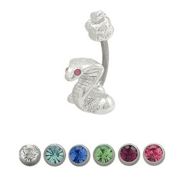 14 gauge Snake Belly Ring with CZ Jewels for Eyes