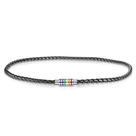 LGBTQ Pride Black Braided Leather Necklace with Magnetic Rainbow Striped Closure