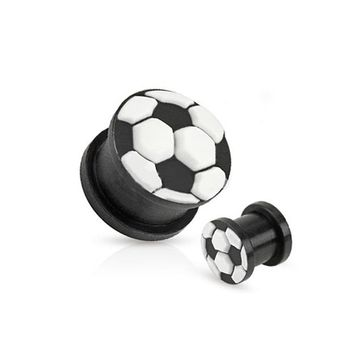 Soccer Ball Top Black Silicone Double Flared Plug - 6 Sizes to Choose - Sold as a Pair