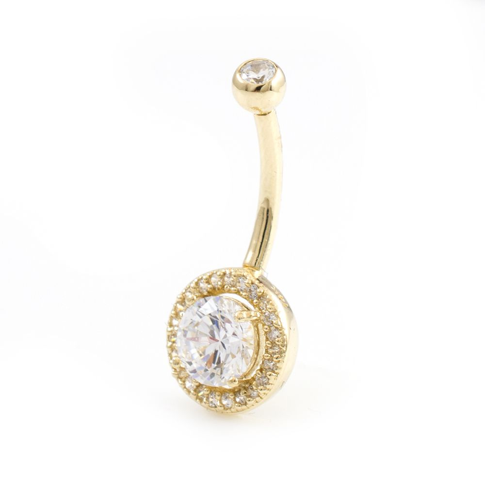 Solid 14k Gold Belly Button Ring With 6 Mm Cubic Zirconia 14ga