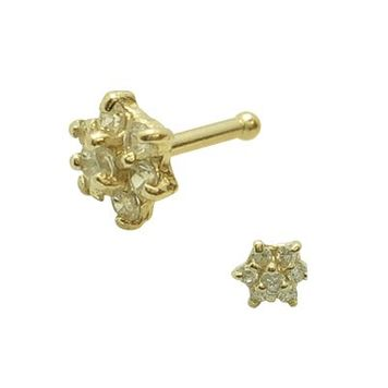 Solid Gold Jeweled Flower Nose Bone -