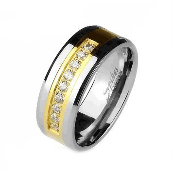 Solid Titanium Band Ring with Gold Center and CZ Gems