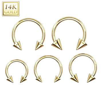Spike End Horseshoe Circular Barbell 14 Karat Solid Gold 14G - 16G