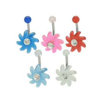 Spiral Flower 14g Belly Button Ring