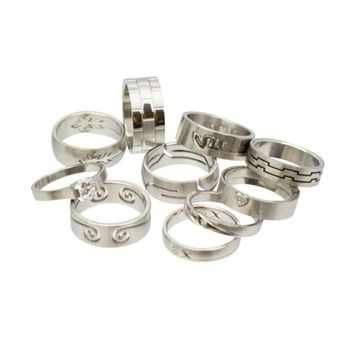 Stainless Steel Rings Assorted Design No Duplicates Randomly Picked- Pack of 12