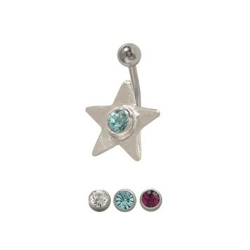 14 gauge Star Belly Button Ring Surgical Steel with Jewel