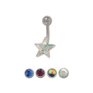 Sterling Silver Single Star Belly Button Ring 14ga