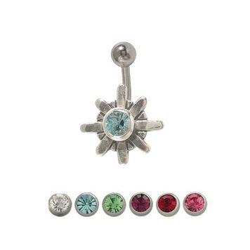 14 gauge Star Belly Ring Surgical Steel Sterling Silver Design with Jewel