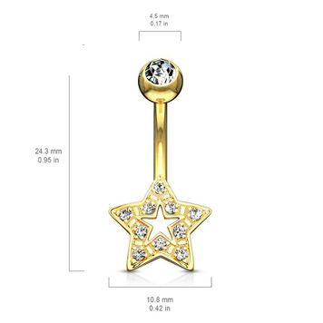 Star Charm Clear CZ 14 Karat Solid Gold Belly Button Ring 14ga