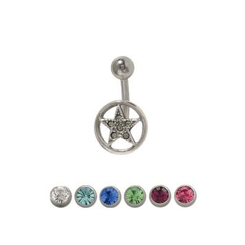 14 gauge Star Circle Belly Ring Surgical Steel with Jewels