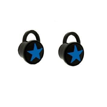Pair of Blue and Black Star Design Acrylic Screw Fit Ear Plugs