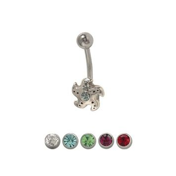 14 gauge Starfish Belly Ring Surgical Steel Sterling Silver Design  with Jewel