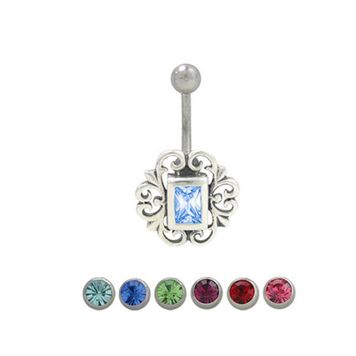 14 gauge Sterling Silver Anique Design Belly Ring with Jewel