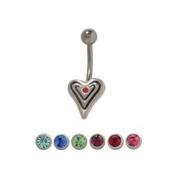 Sterling Silver Antique Heart  14 gauge Belly Button Ring