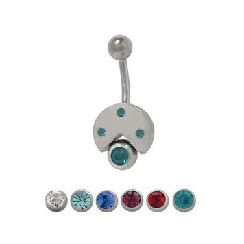 Sterling Silver Classic Jeweled 14 gauge Belly Button Ring