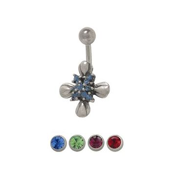 14 gauge Sterling Silver Cross and Flower Belly Ring with Cz Jewels