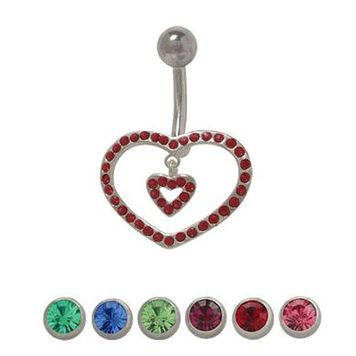 14 gauge Sterling Silver Double Heart Design Belly Ring with Cz Jewels