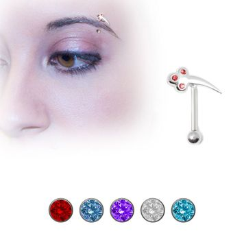 Sterling Silver Eyebrow Ring with 3 Jewel Design