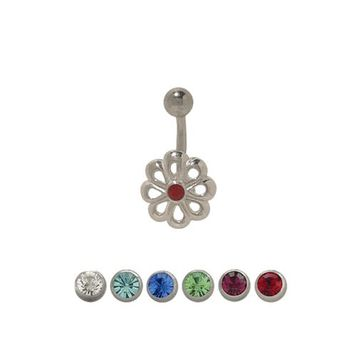 Sterling Silver Flower Design 14 gauge Belly Button Ring