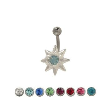 Sterling Silver Flower Design Belly Ring with CZ Jewel 14 ga