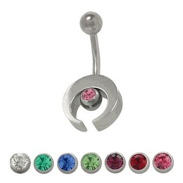 14 gauge Sterling Silver Half Moon Design Belly Ring with Cz Jewel