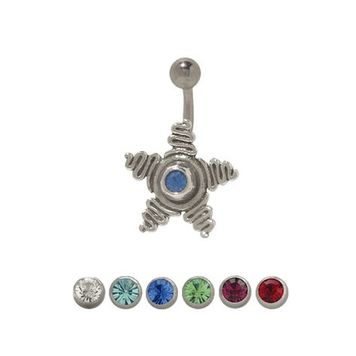 Sterling Silver Swirling Star Design CZ Belly Button Ring 14ga