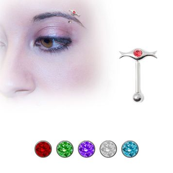 Sterling Silver Unique Eyebrow Ring with Jewel